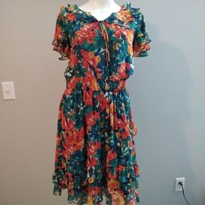 Duro Olowu Dress Floral Multicolor Ruffles